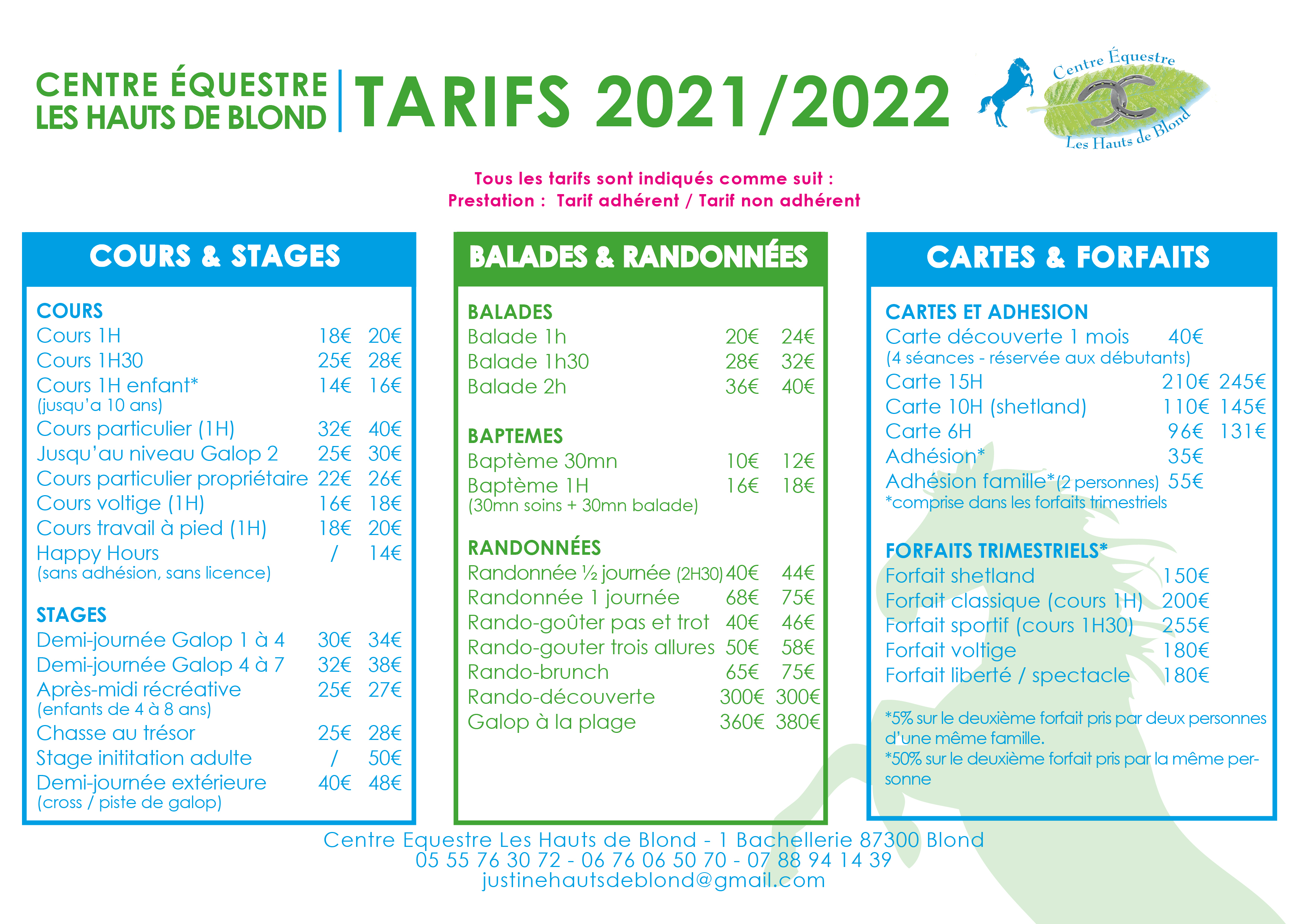 tarifs 2021-2022