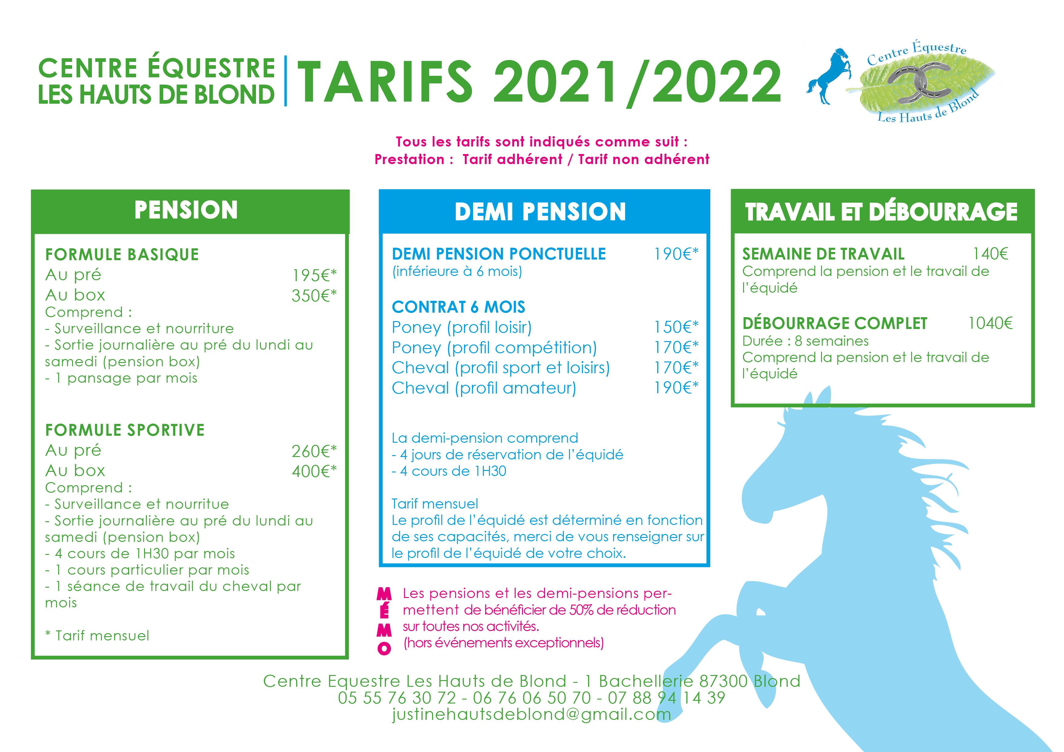 tarifs 2021-20222